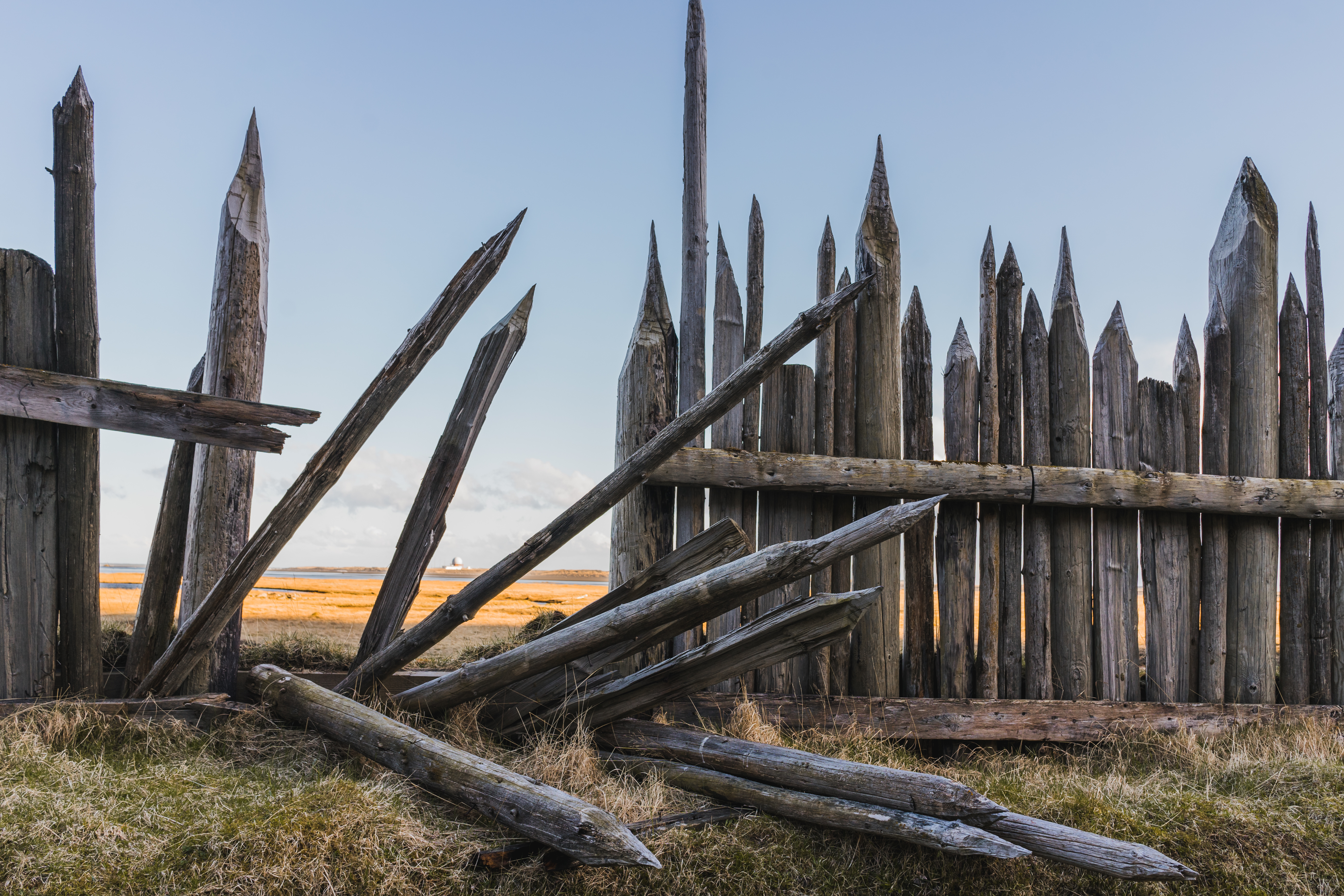 Old collapsed wooden fence